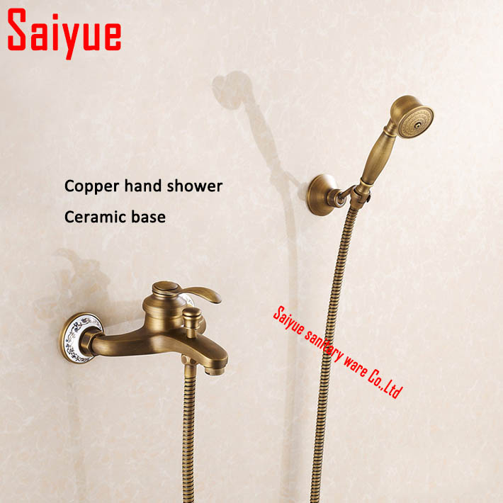 New arrival wall mounted Rainfall  Shower Faucets with ceramic Mixer Tap Antique Brass Bath & Shower Faucet Set bathtub faucet New arrival wall mounted Rainfall  Shower Faucets with ceramic Mixer Tap Antique Brass Bath & Shower Faucet Set bathtub faucet