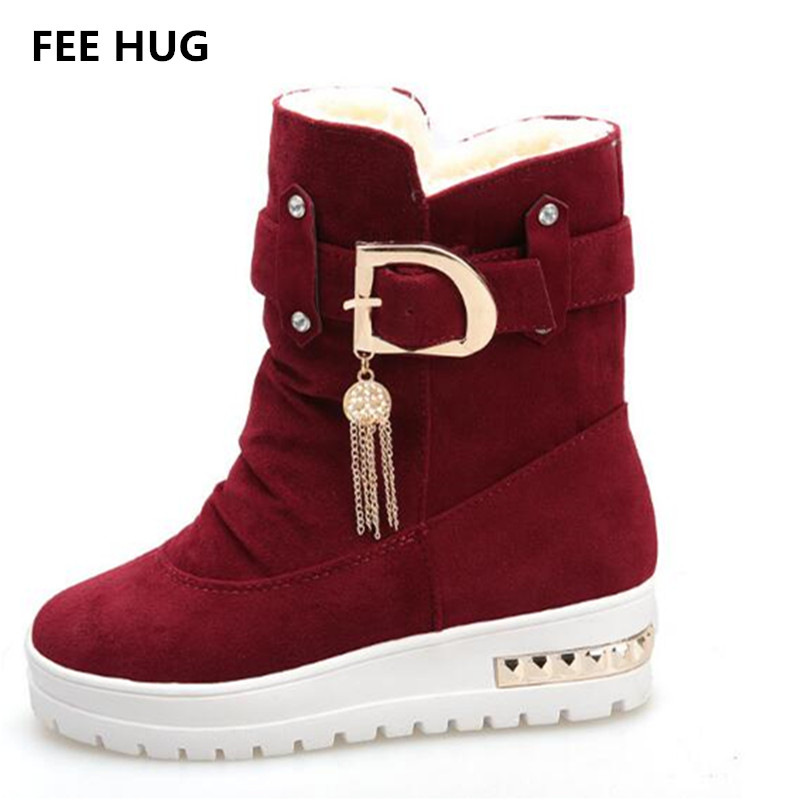 FEE HUG Women's Winter Warm Boots Platform Thicken Velvet Fur Snow Boots Shoes Female Cotton-padded Shoes Flat Short Boots 40