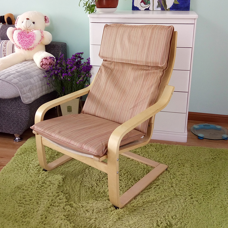 Wooden Living Room Leisure Armchair Furniture Upholstered Cushion Seat Modern Adult Large Lazy Arm Chair Wood