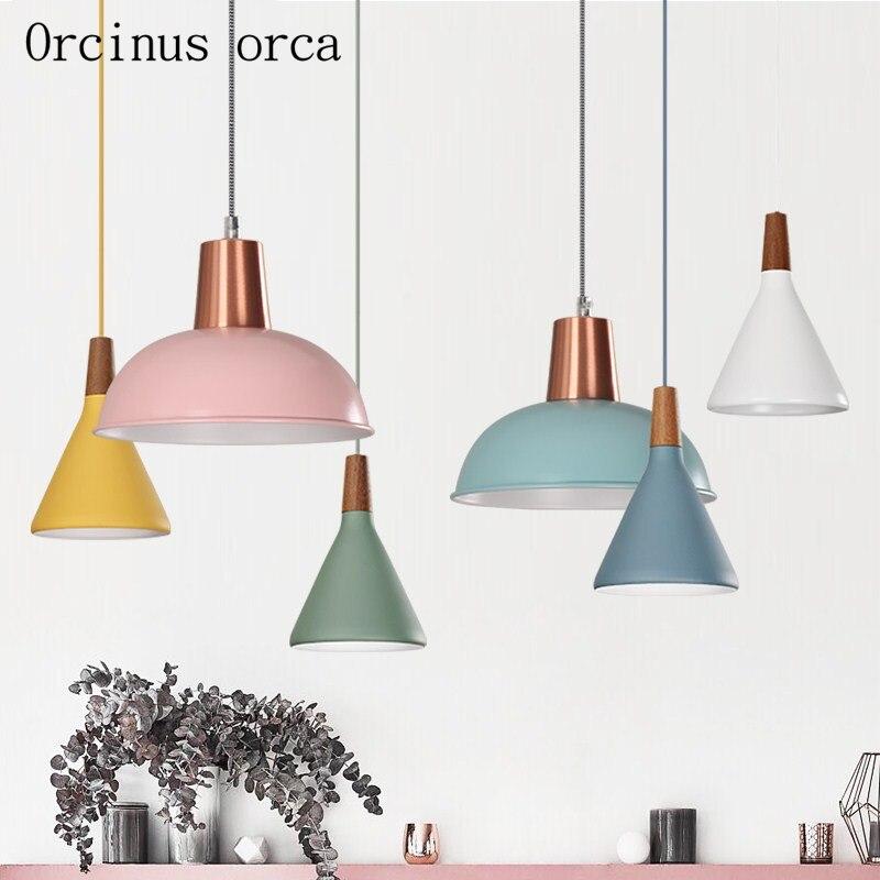 Nordic minimalist creativity LED chandelier cafe bar bar bedroom modern personality color single head iron Chandelier все цены