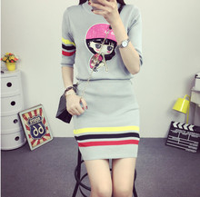 New girl college style knit sweater skirt two sets of female fashion cute pattern design knitted