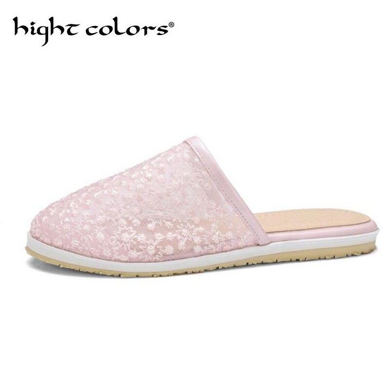 Женская обувь 2018 женские летние босоножки на каблуках Для женщин без каблука сетчатые дышащие тапочки для Для женщин розовый белый Большой ...