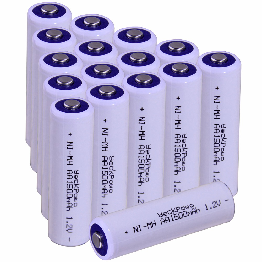 Real capacity! 16 pcs AA 1.2V NIMH AA rechargeable AA battery 1500mah YECKPOWO for camera razor toy remote control flashlight