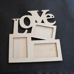 Hollow motyw miłości drewniane ramka na zdjęcia obraz w ramie rama ozdoby do dekoracji wnętrz Rama Dom i ogród -