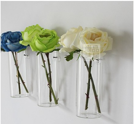 3pcslot Clear Flower Glass Vase Blown Crafts Hanging Wall