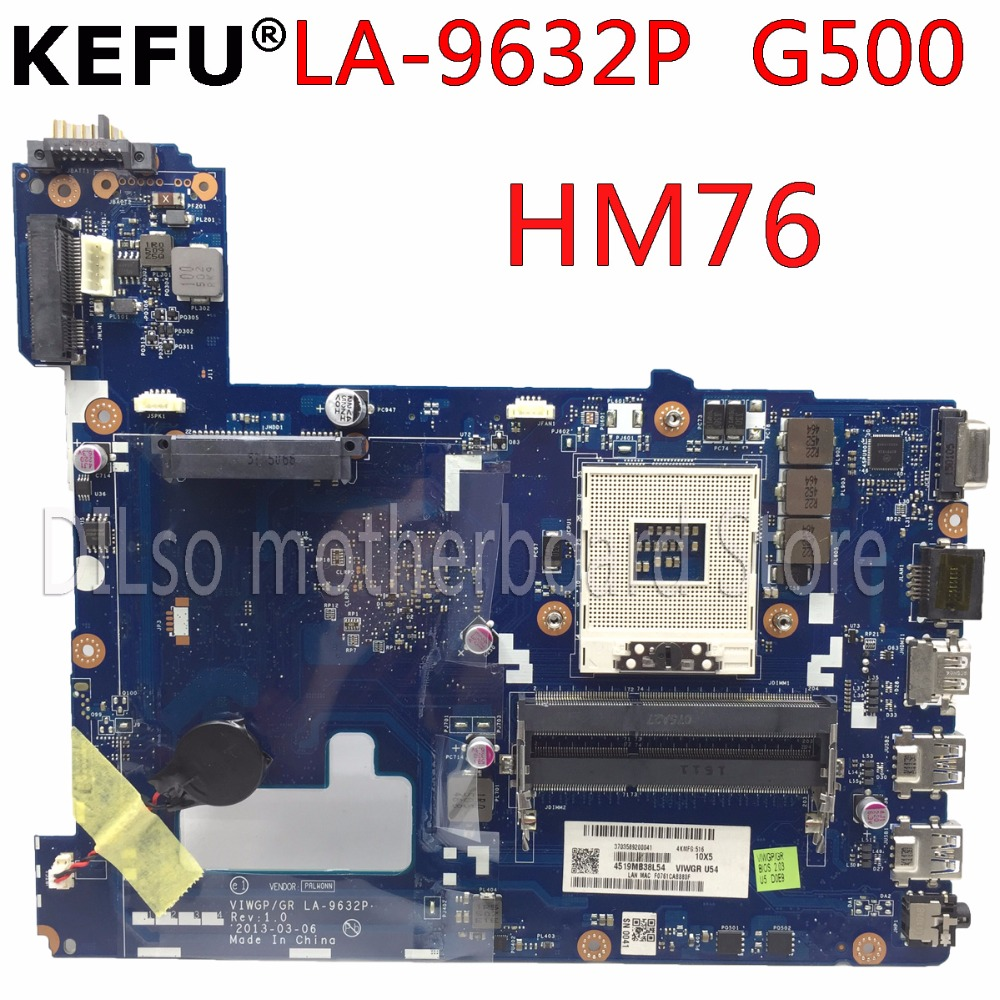 KEFU VIWGP/GR LA-9632P laptop motherboard for Lenovo G500 motherboard la-9632p motherboard HM76 DDR3 100% tested motherboard viwgp gr la 9631p 90002823 rev 1 0 mainboard fit for lenovo g500 laptop motherboard with video card