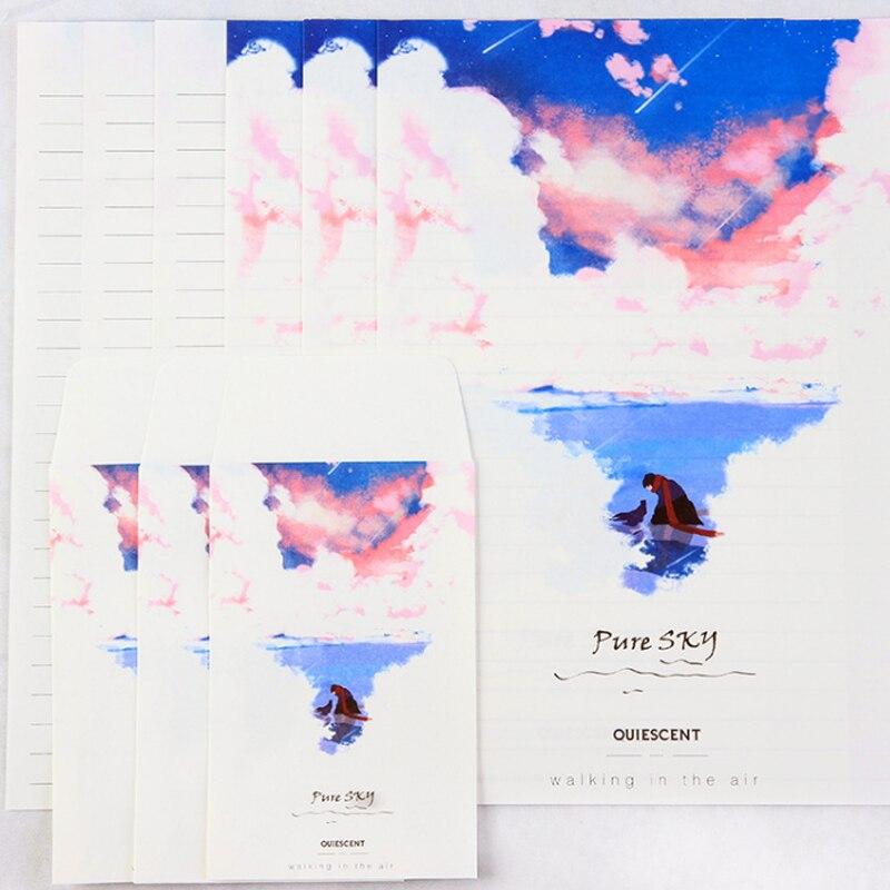 Купить с кэшбэком 3pcs/lot Colored sky envelope writing paper stationery kawaii birthday christmas card envelopes school supplies