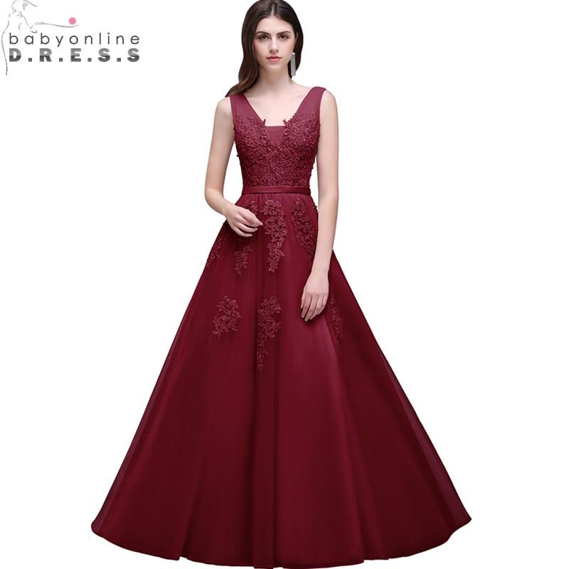 Robe De Soiree Longue Cheap Burgundy Lace Appliques Long Evening
