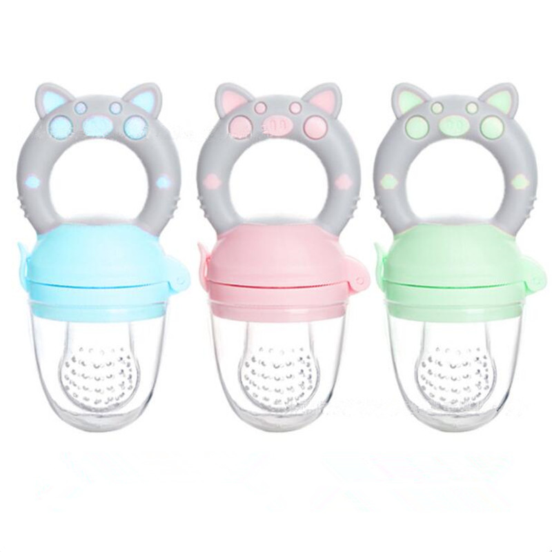 Small Pig Handle Pacifier Feeder For Baby Food Grade Silicone PP Training Nipple Milk Fresh Fruit Nibbler Teat Pacifier Bottles