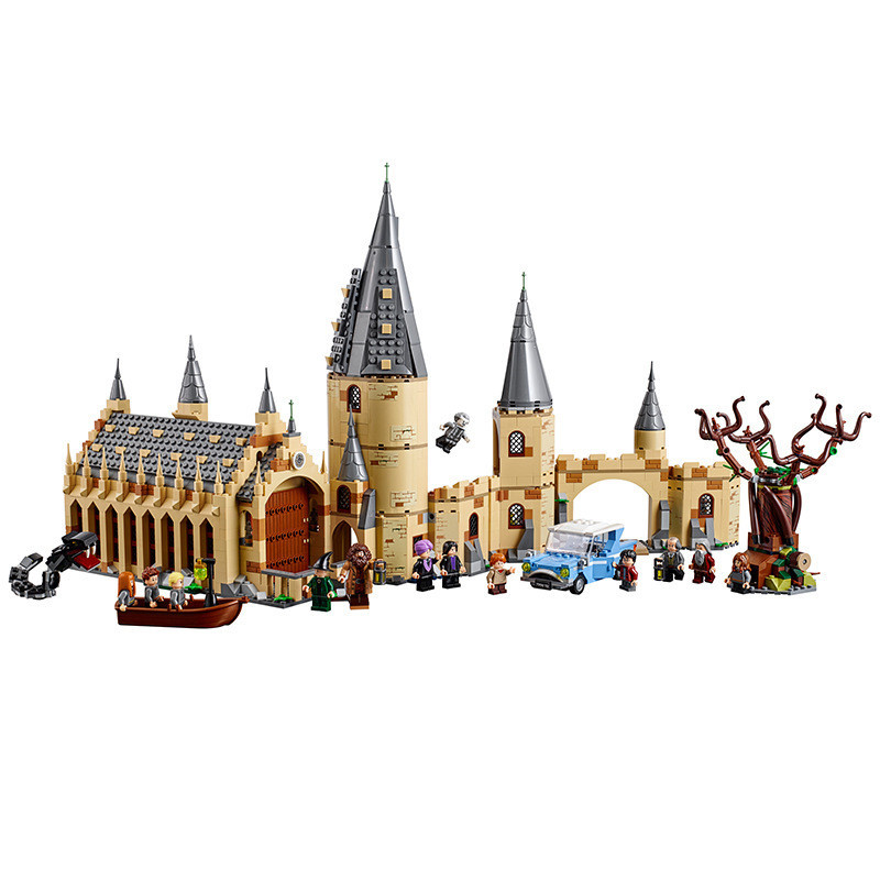Harri Potter Movie Legoing 16052 16054 75954 75953 Hogwarts Great Wall Set Building Blocks House Kids Toys Christmas Gifts