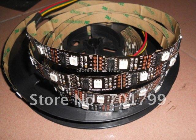BLACK PCB 5m led digital strip,DC5V input,WS2801IC(256 scale);32pcs IC and 32pcs 5050 SMD RGB each meter;non-waterproof