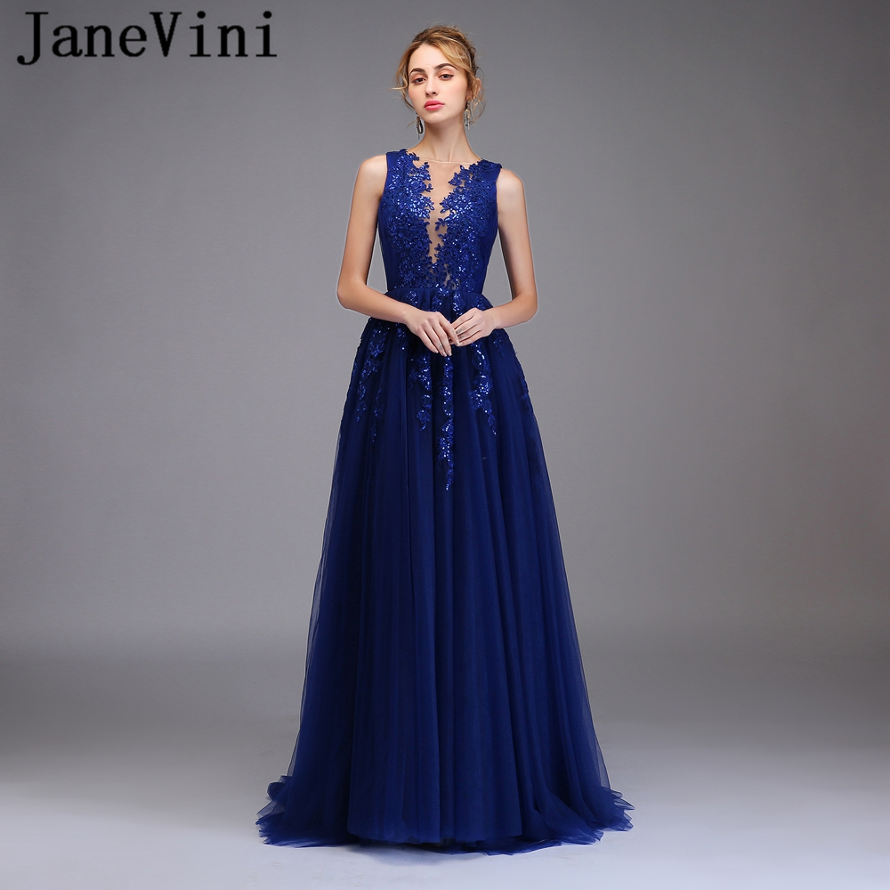 JaneVini Elegant Navy Blue Plus Size   Prom     Dresses   A Line Lace Appliques Sequined Sexy High Split Illusion Tulle Women   Prom     Dress