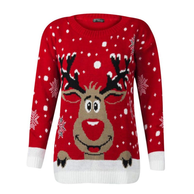 Christmas 2017 Deer Winter Long Sleeve Sweater Warm Snowflake Fawn Christmas Women Casual Round Neck Pullover 2 Colors