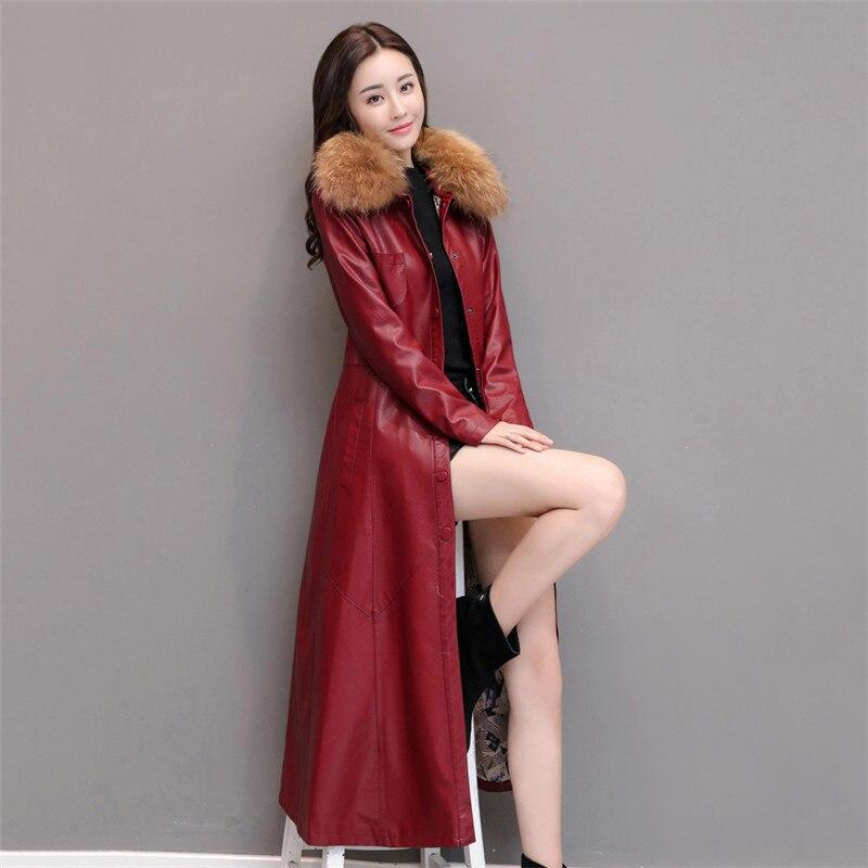 Col Femmes Colla Survêtement En Long De Le Automne Faux Haute Red Cw582 Real Femelle Plus Black Coton Manteau jujube Fourrure Grande Cuir 2018 Taille Dame Qualité Fur Tdxw5PqS5