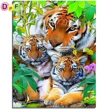DPF Happy Tiger Family Diamond painting cross stitch New 100% full square drill diamond painting  Home Decor diamond embroidery