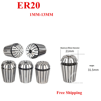1pcs ER20 Collet 1-13MM Spring Collet Set For CNC Engraving Machine CNC Milling Lathe Tool CNC 8060 6090 Spindle Motor Parts 2