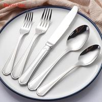 20 sola pieza cubertería de plata 304 vajilla de acero inoxidable utilizado restaurante cena cuchillo tenedor occidental comedor vajilla al por mayor