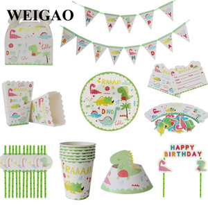Image 4 - WEIGAO Dinosaur Birthday Party Disposable Tableware Sets Kids Animal Birthday Party Decoration Paper Banner/Cup/Plate Supplies