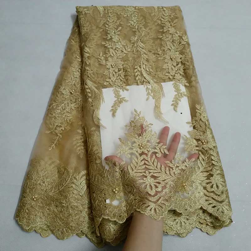 New 2019 High Quality French Tulle Swiss Voile Lace African Beads Lace Fabric Gold Color Nigerian