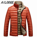 2016 Mens Fashion Down Jackets New Thin Orange Brand Clothing Camperas Hombre Invierno Down Parka For Men Jaqueta Masculina
