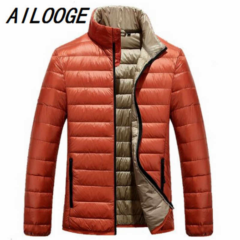 2016 heren mode donsjacks nieuwe dunne orange merk kleding camperas hombre invierno parka voor mannen jaqueta masculina