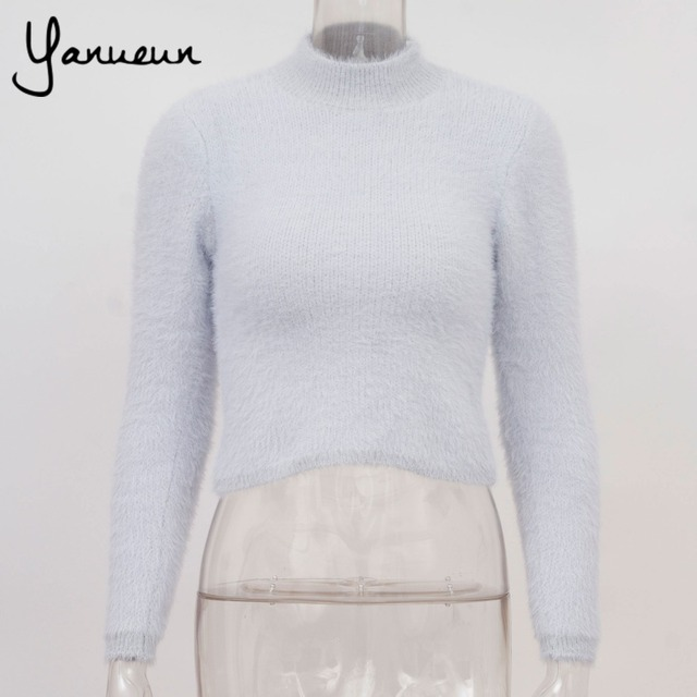 Colorful Apparel 2016 Women Cropped Jumpers Fluffy Mohair Sweater Mujer Pullover Sweaters Crop Top high collar CA591