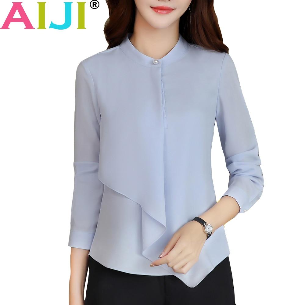 AIJI Summer Elegant Long Sleeve Blouses Women OL Career Collar Chffon Shirts Tops Ladies Office Business