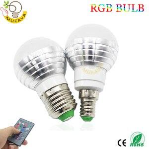 Image 3 - E27 E14 หลอด LED RGB 16 สี Magic LED Night Light 85 265V หลอดไฟ LED หรี่แสงได้ STAGE LIGHT/24key รีโมทคอนโทรล Holiday ไฟ