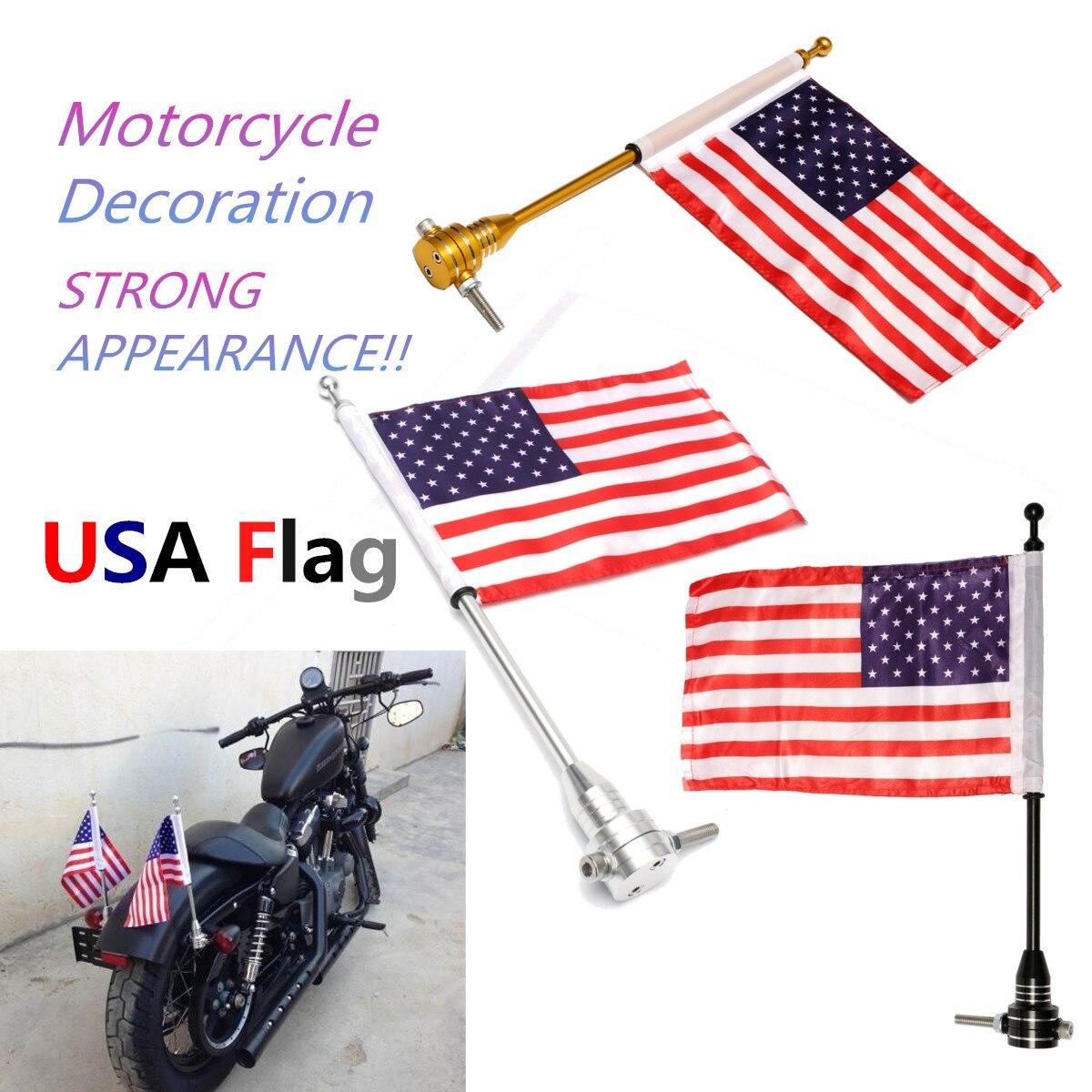 Moto Vélo Américain USA Drapeau Décalque Autocollant Mât Porte-Bagages Montage Pour Harley