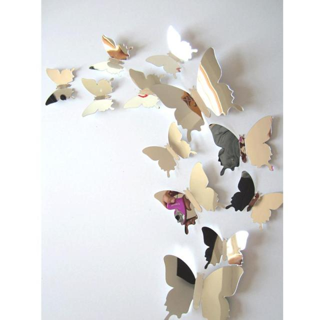 3D DIY Wall Stickers Decal Butterflies Mirror Wall Art Home Decors Free Shipping Self Adhesive Wallpaper For Kids Bedrooms