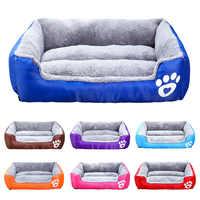 Livre o navio S-3XL cães cama para pequeno médio grande cães casa de estimação à prova dwaterproof água fundo macio velo quente gato cama sofá casa 11 cores