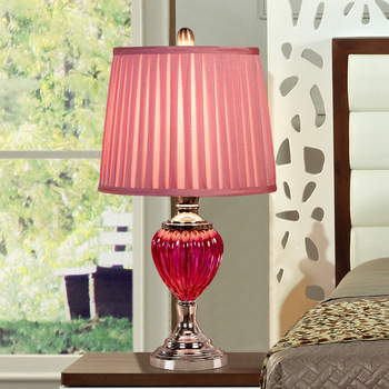 Yook 32*56.5 Cm Pink Transparan Kaca Lampu Meja Pernikahan Kamar LED Lampu Meja untuk Ruang Tamu Samping Tempat Tidur Lampu kamar Tidur Lampu Meja