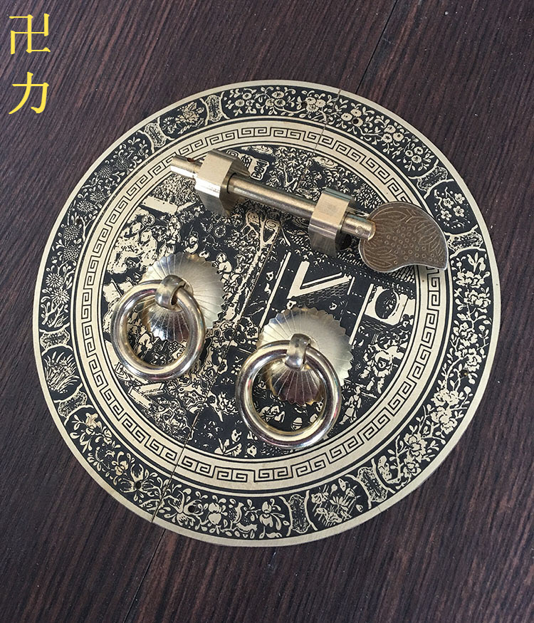 The new Chinese antique furniture of Ming and Qing Dynasties copper copper fittings door cabinet handle round door wardrobe copp antique chinese antique furniture copper fittings metal door latch bolt windows