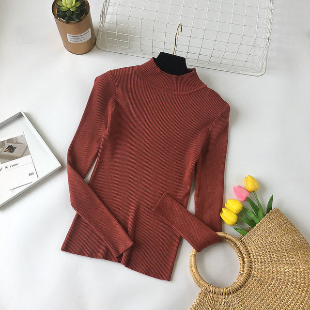 2018 High Quality Fashion Spring Autumn Winter Knitted Sweater Women Turtleneck Pullovers Women's Solid Sweaters Jumper