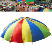 4M Rainbow Umbrella Parachute Toy Child Kids Games Sports Outdoor Development Toy Jump sack Ballute Educational Play Parachute