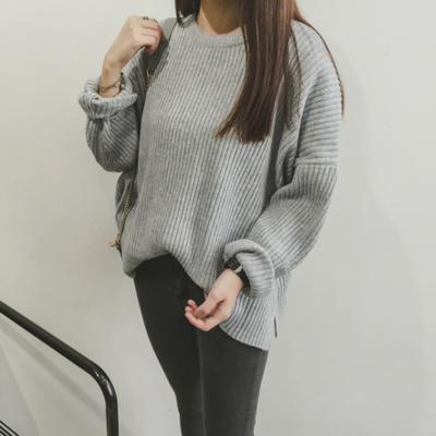 Outono de grandes dimensões camisola o-pescoço longo-luva frouxo cor sólida mulheres suéteres e pulôveres