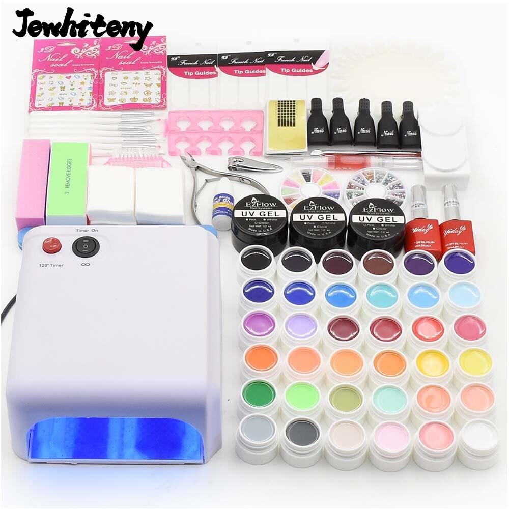 nail set 36W <font><b>UV</b></font> LED lamp nail dryer & 36 colors nail gel polish base gel top <font><b>coat</b></font> gel varnish & nail art tools manicure sets
