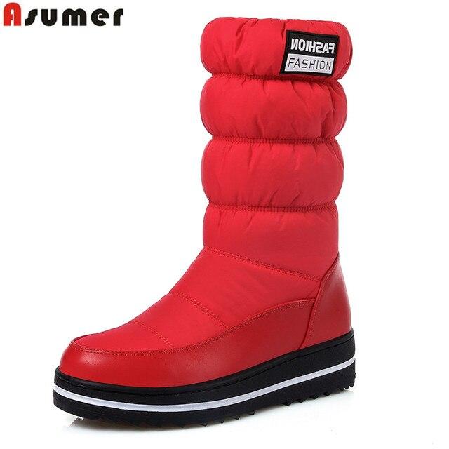 ASUMER Artı boyutu 35-44 Kar botları kadınlar yüksek kaliteli platform orta buzağı çizmeler su geçirmez moda kışlık botlar bayan ayakkabıları