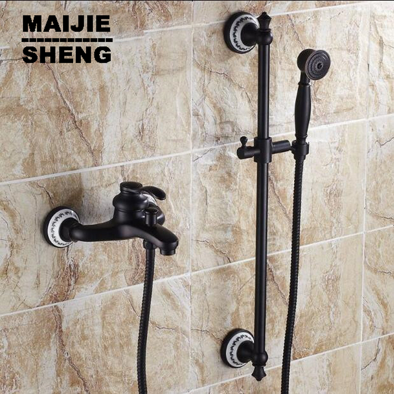 with hand shower black orb shower Bathroom black wall shower mixer set with lifter shower bar bath simple bathtub mixer set bathroom wall concealed antique shower faucet mixer black orb bathroom shower kit bath mixer set shower two function shower set