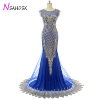 Vestidos Upscale Banquet Floor Lengt Evening dinner Dress Party Plus Size 2018 New Sexy Fishtail Slim O Neck Formal Long Dress
