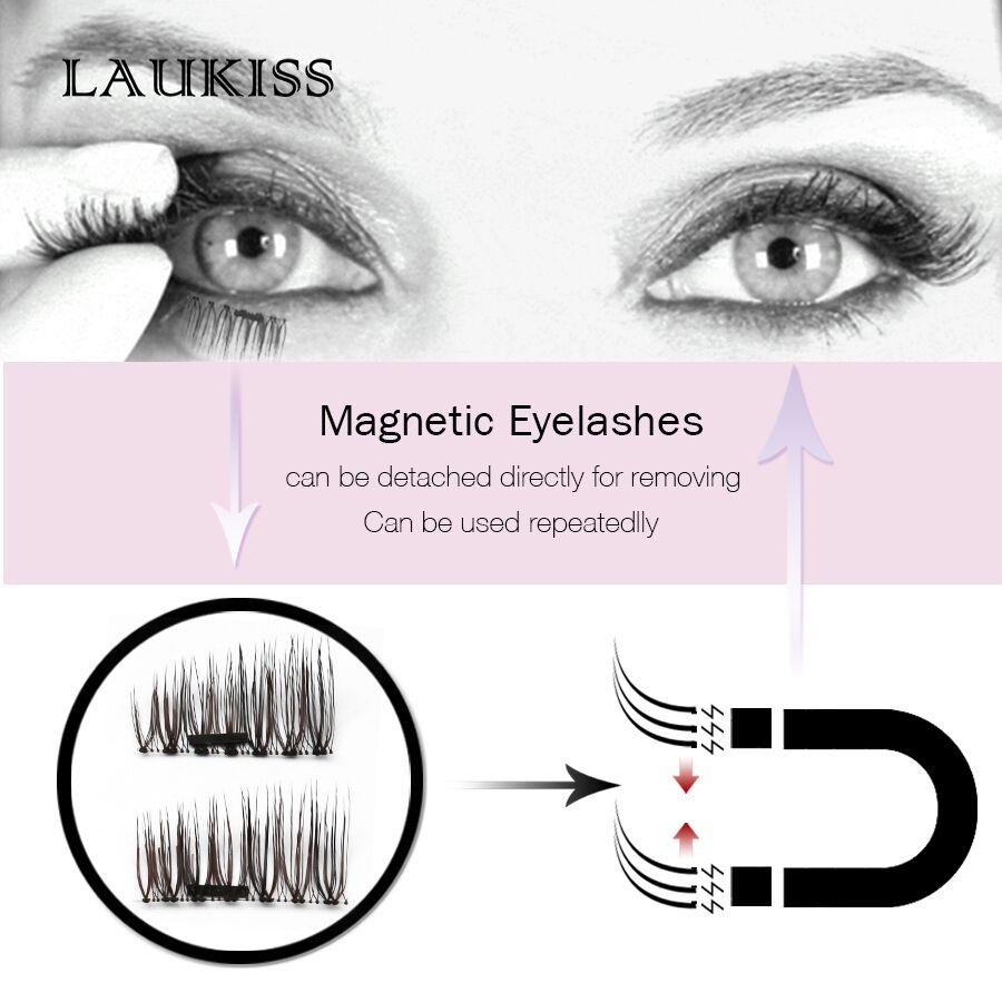 Magnetic Eyelash 4pcs/Pair Eyelash Extension Magnet Natural False Eyelashes Fake Lash Magnetic Lashes Makeup Tools LAUKISS