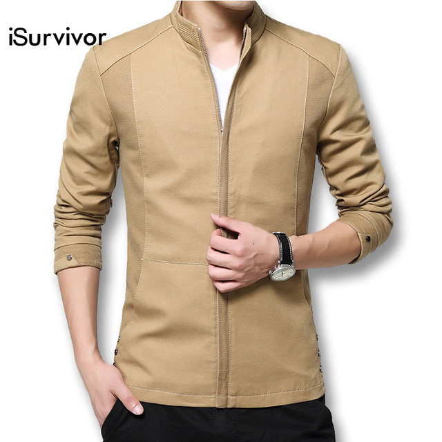 8c71bf95d3b Men Jacket 2018 Fashion Men Cotton Jacket and Coats Spring Autumn Solid  Stand Collar Coats Plus Size 4XL Slim Fits Casual Bomber