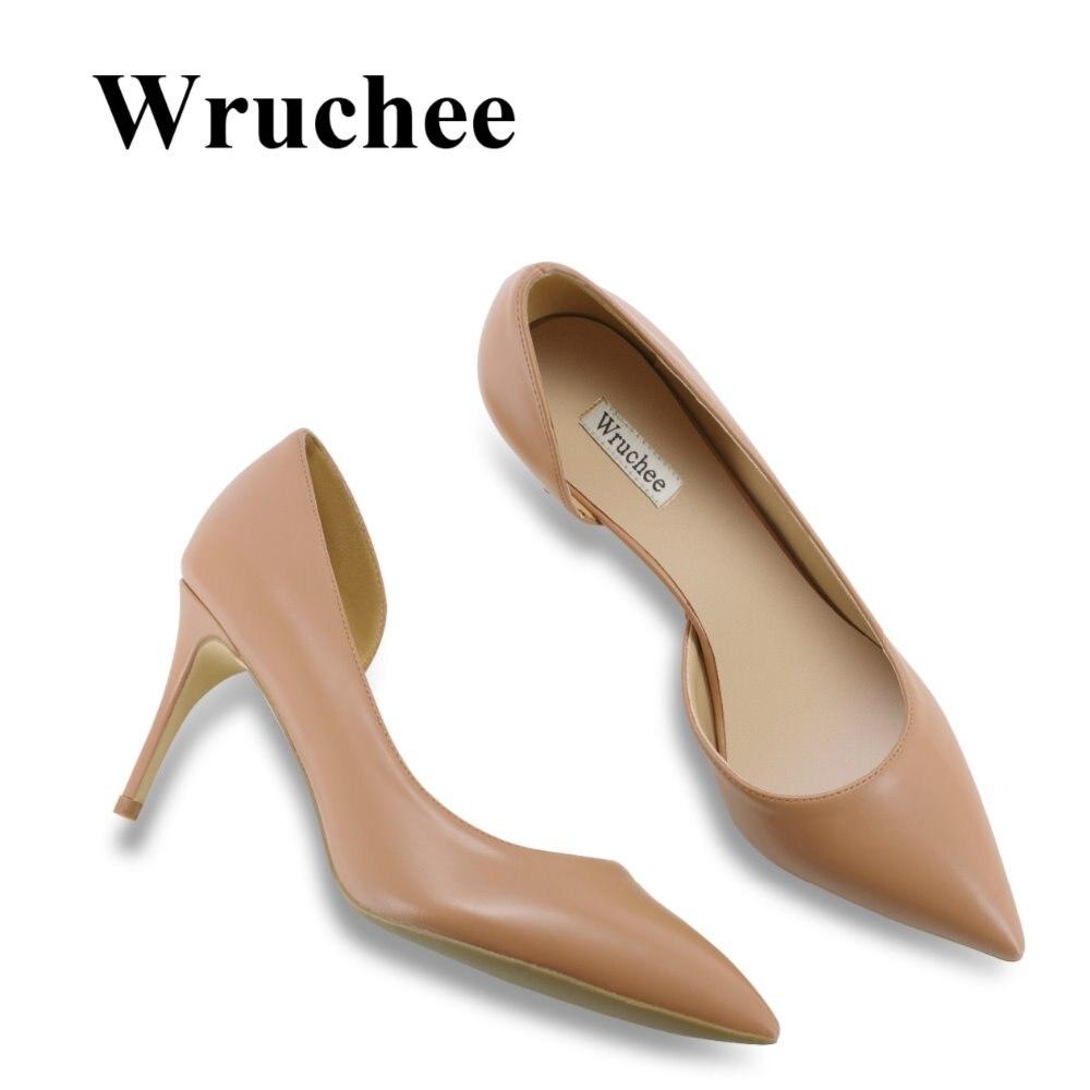 Wruchee Summer Women shoes low cut 8cm working shoes big size thin heels pumps women shoesWruchee Summer Women shoes low cut 8cm working shoes big size thin heels pumps women shoes