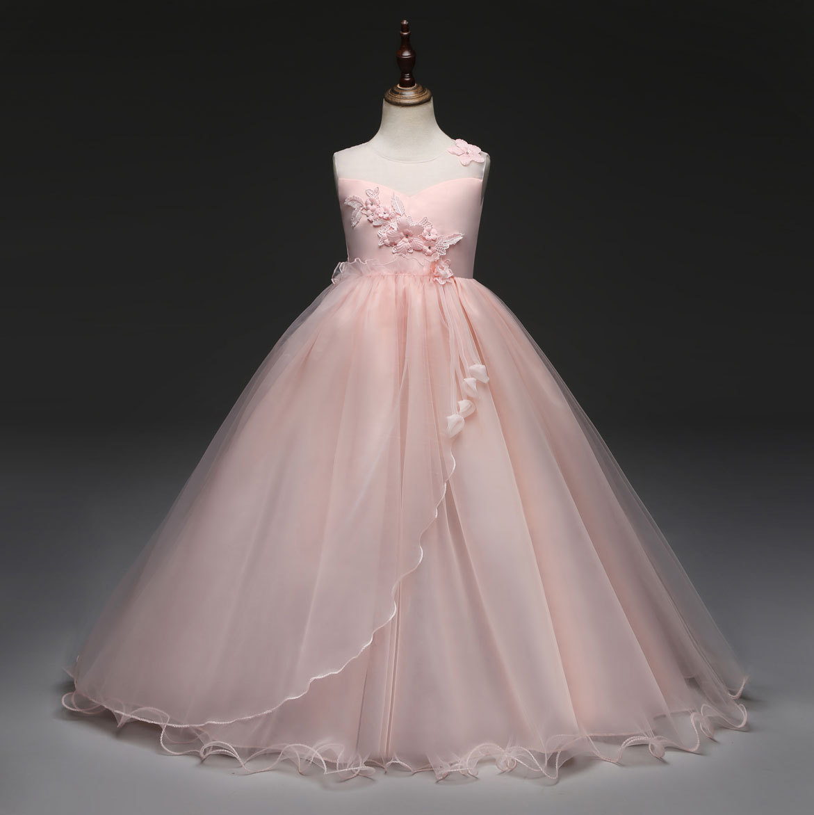 Gowns For Girls: Luxury Petticoat Children Flower Girl Trumpet Pink White