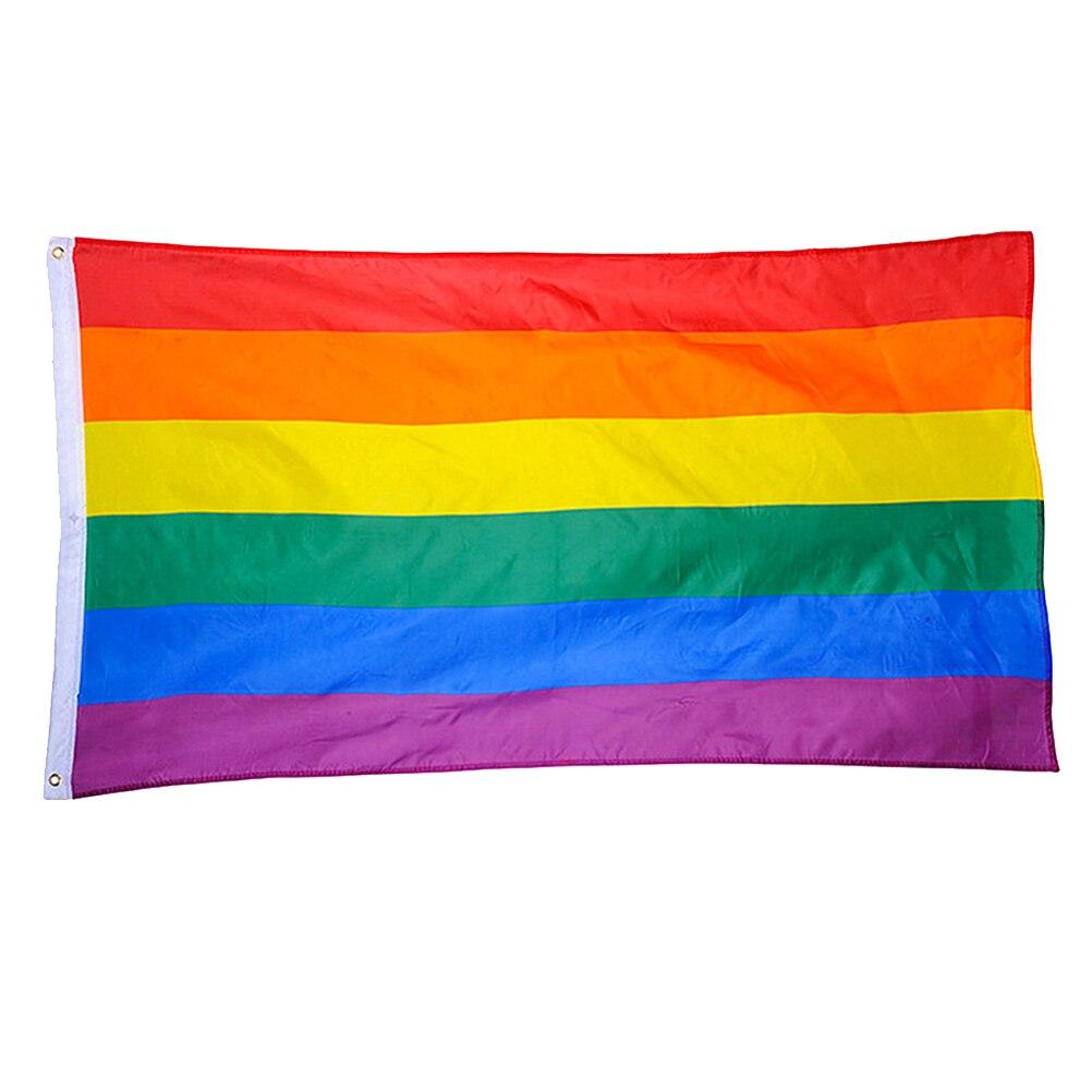 Радужный Флаг из полиэстера, большой ЛГБТ флаг, наружный баннер (60*90 см)