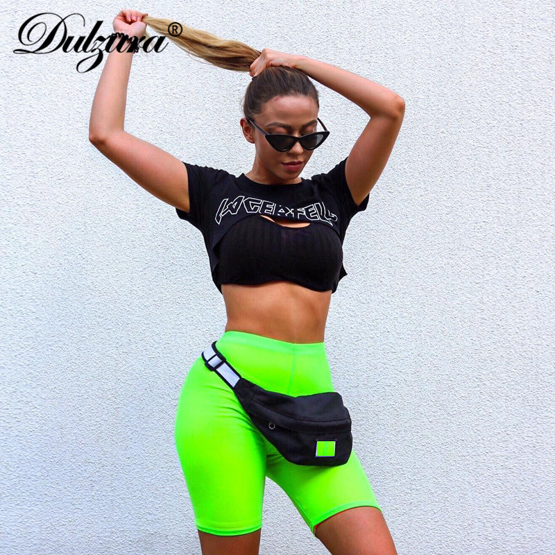 Dulzura high waist women fitness shorts 2018 sexy workout stretch skinny legins sportswear bottom