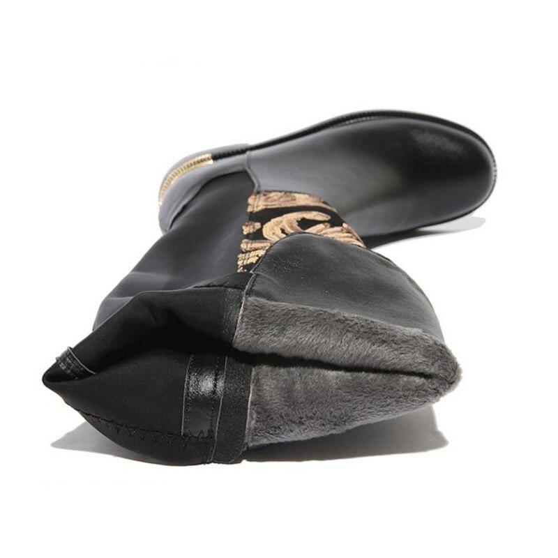 Mujer Rodilla Redondo De Zapatos Negro Cremallera Tamaño Genuino Vintage 34 Calzado 42 Las Dedo Madura Rizabina Mujeres Del Botas Cuero La Pie 46tqwp