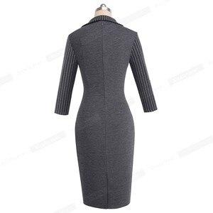 Image 2 - Nizza für immer Vintage Elegante Streifen Patchwork Tragen zu Arbeiten vestidos Business Party Bodycon Büro Frauen Karriere Kleid B479