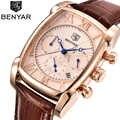 BENYAR montres pour hommes classique Rectangle boîtier mode Sport chronographe étanche bracelet en cuir véritable luxe montre à Quartz hommes