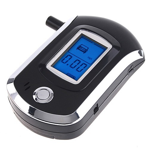 Digital Breath Alcohol Tester Breathalyzer Audible Alert  LCD Backlight Display flat-surfaced alcohol sensor With Mouthpieces